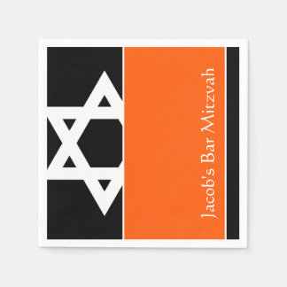 Orange and Black Star of David Bar Mitzvah Disposable Serviettes