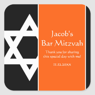 Orange and Black Star of David Bar Mitzvah Favor Square Sticker