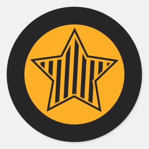 Orange and Black Star Round Sticker