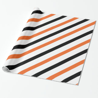 Orange and Black Stripe Gift Wrapping Paper