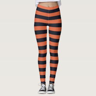Orange And Black Striped Leggings