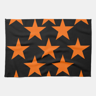 Orange and Black Super Stars Pattern Towel