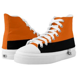Orange and Black Two-Tone Hi-Top Printed Shoes