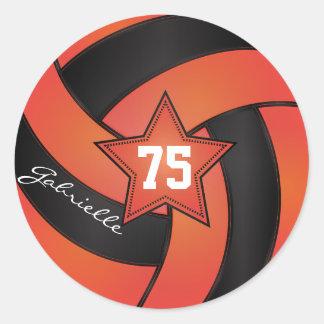 Orange and Black Volleyball   DIY Name & Number Round Sticker