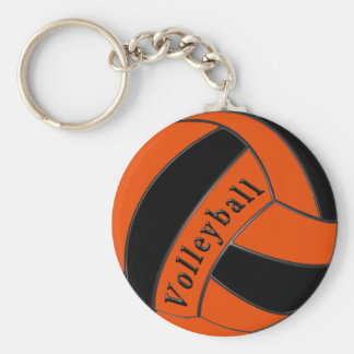 Orange and Black Volleyball Party Favors, Cheap Basic Round Button Key Ring