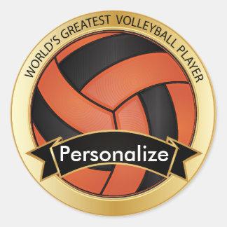 Orange and Black Volleyball Round Stickers