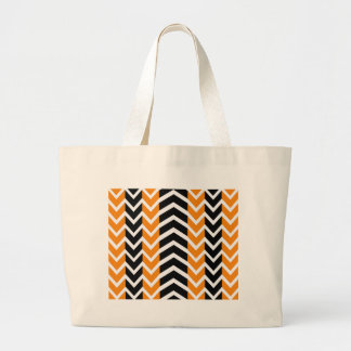 Orange and Black Whale Chevron Large Tote Bag