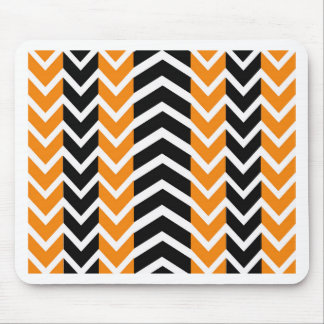 Orange and Black Whale Chevron Mouse Pad