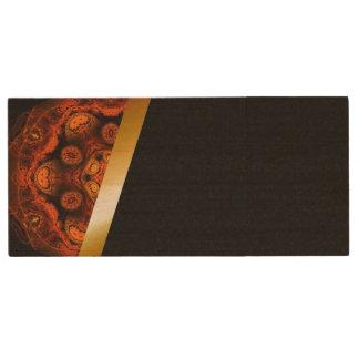 Orange and black wood USB 3.0 flash drive