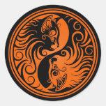 Orange and Black Yin Yang Cats Round Stickers
