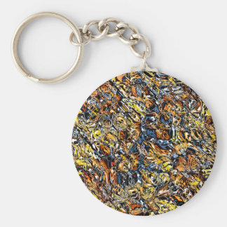 Orange And Blue Abstract Key Ring