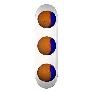 Orange and Blue Baseball Skate Deck