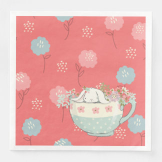 Orange and Blue Bunny in a Teacup Flowers Disposable Serviettes