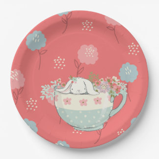 Orange and Blue Bunny in a Teacup Flowers Paper Plate