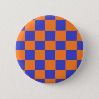 Orange and Blue Checkers 6 Cm Round Badge