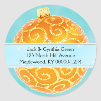 Orange and Blue Christmas Ornament Address Label