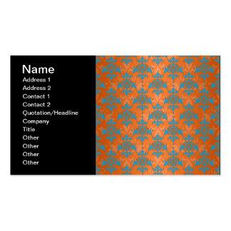 Orange and Blue Damask Pack Of Standard Business Cards