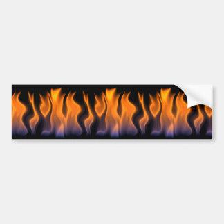 Orange and Blue Flames on a Black Background Bumper Sticker