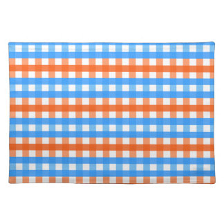 Orange and Blue Gingham Place Mats