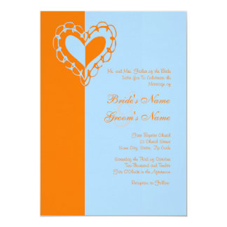 "Orange and Blue Heart Wedding Invitation 5"" X 7"" Invitation Card"