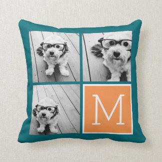 Orange and Blue Instagram Photo Collage Monogram Cushion