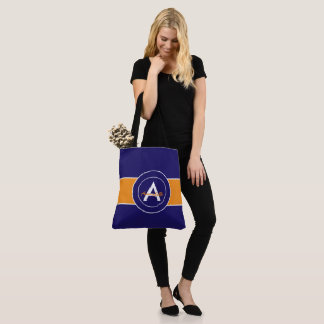 Orange and Blue Monogram Personalized Tote Bag