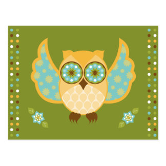 Orange and Blue Owl on Green Postcard