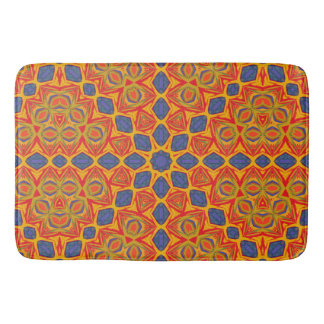 Orange And Blue Pattern Bath Mat