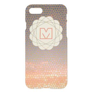 Orange and Blue Pixel Sunset Monogram iPhone 7 Case