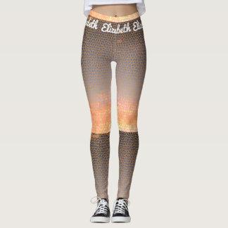 Orange and Blue Pixel Sunset Mosaic Pattern Leggings