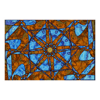Orange and Blue Print