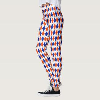 Orange and Blue Preppy Diamond Argyle Pattern Leggings
