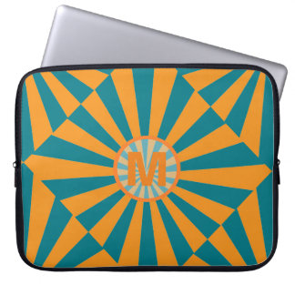 Orange and Blue Retro Sunbeam Laptop Computer Sleeve