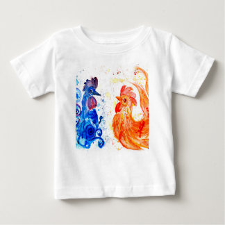Orange and Blue Roosters Baby T-Shirt