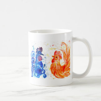 Orange and Blue Roosters Coffee Mug
