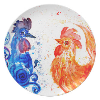Orange and Blue Roosters Plate