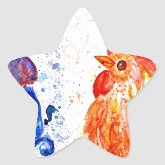 Orange and Blue Roosters Star Sticker