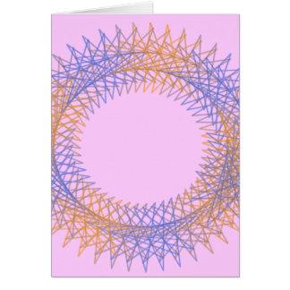 Orange and blue spiky spirograph card