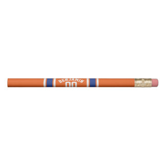 Orange and Blue Sports Jersey Stripes Pencil