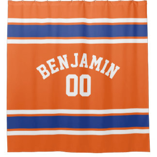 Orange and Blue Sports Jersey Stripes Shower Curtain