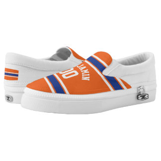Orange and Blue Sports Jersey Stripes Slip-On Shoes