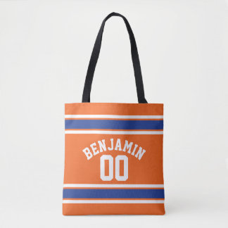 Orange and Blue Sports Jersey Stripes Tote Bag