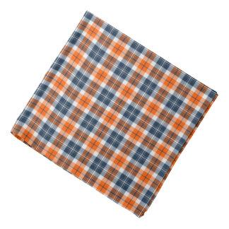 Orange and Blue Sporty Plaid Bandana