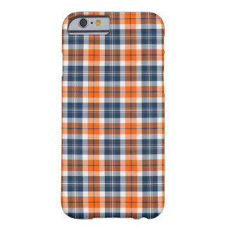 Orange and Blue Sporty Plaid Barely There iPhone 6 Case
