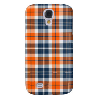 Orange and Blue Sporty Plaid Galaxy S4 Covers