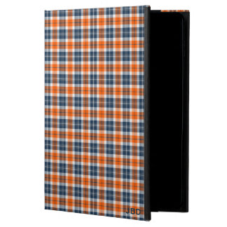Orange and Blue Sporty Plaid Pattern Monogram Powis iPad Air 2 Case