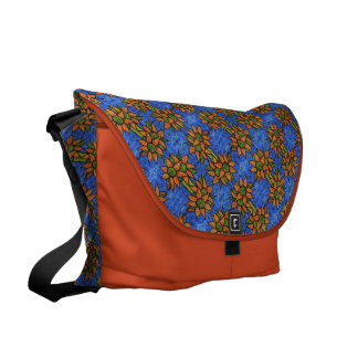 Orange And Blue Sunflowers Pattern Commuter Bags