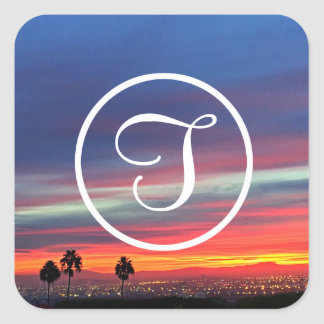 Orange and blue sunrise photo custom monogram square sticker