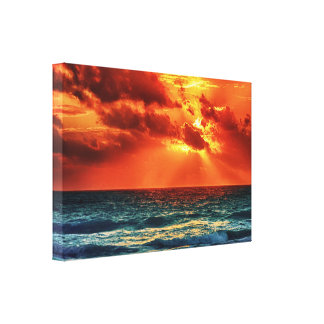 Orange and Blue Tropical Sunset Canvas Print