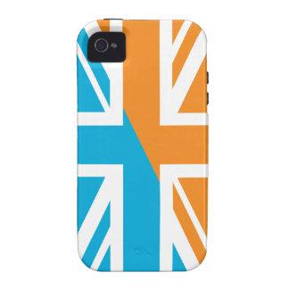 Orange and Blue Union Jack British(UK) Flag Case-Mate iPhone 4 Covers